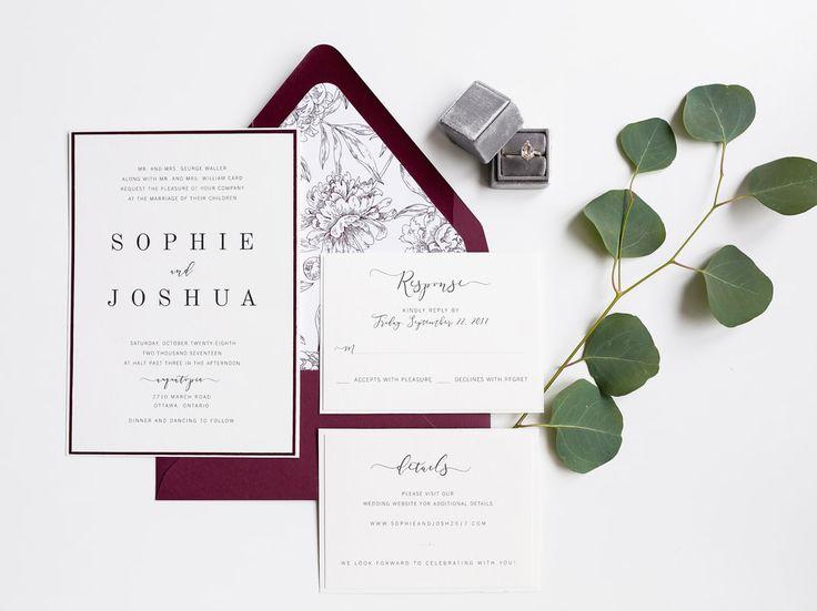 burgundy floral wedding invitation suite | fall wedding | modern wedding | wedding invitation | styled stationery | wedding idea
