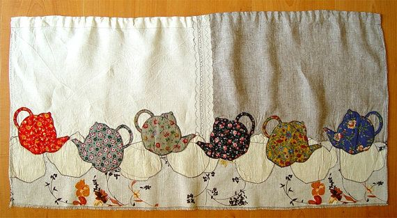 Appliqued Textile Curtain Falling Teapots By