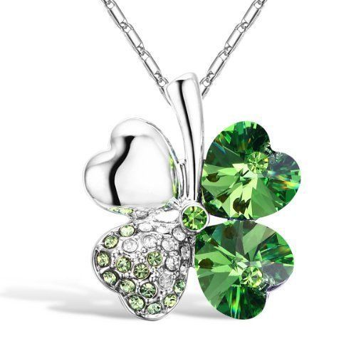 St Patricks Day Four Leaf Clover Necklace Pendant Crystal Heart Shamrock New #StPatricks