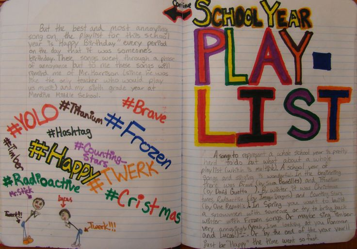 """6th grader Susy wins one of my ten """"Mr. Stick of the Year"""" awards with this entry she's been working on during the last month of school.  Susy says, """"Read the right-hand page first.""""  I love that she is remembering the school year through music.  THANKS, SUSY!"""