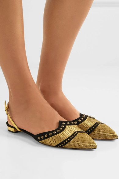 Aquazzura - Marrakech Studded Embroidered Suede Point-toe Flats - Gold