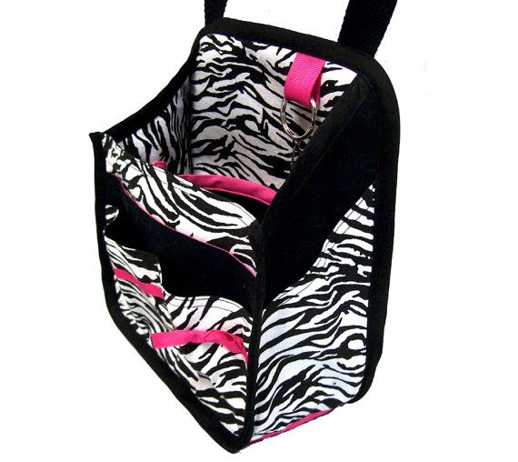 Hanging Car Organizer In Zebra Print With Pink By