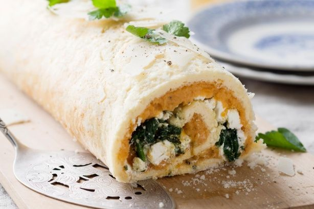 Roll up this fabulous roulade filled with sweet potato, spinach and pesto.