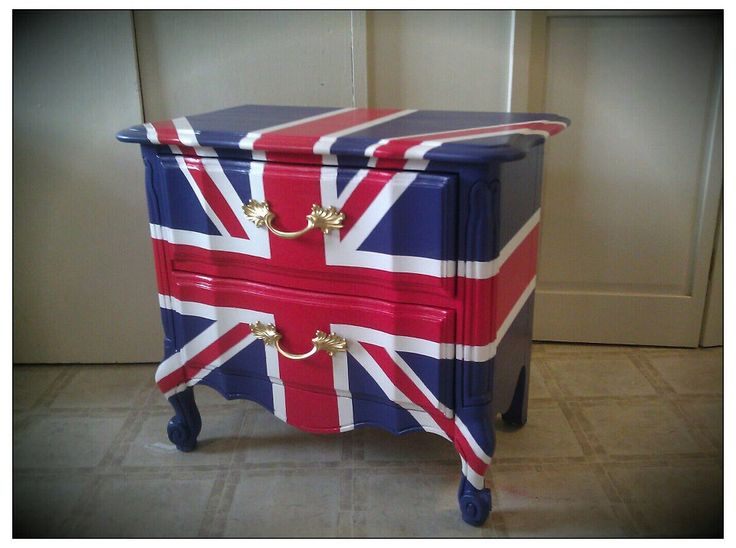 Superbe RESERVED FOR MICHAEL Vintage Refurbished Hand Painted Union Jack British  Flag Nightstand End Table.
