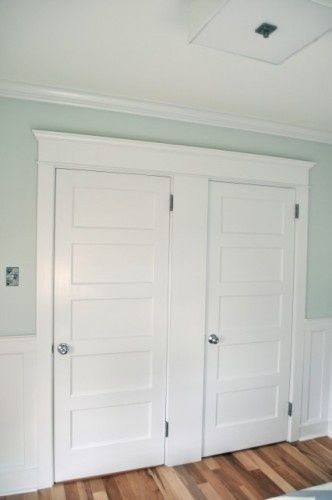 love the wall color. (5-Panel Doors. Flat five-panel doors are often used in mission and Arts and Crafts homes. Combined with a Craftsman header and wainscoting, these doors are architectural gems.)