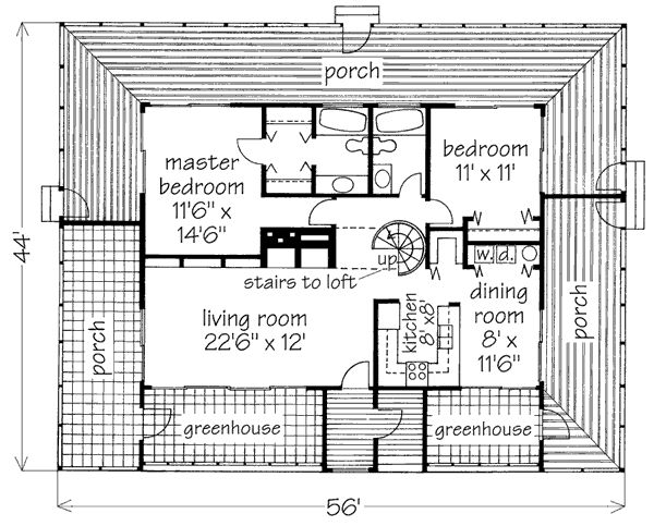 The Only Thing I Like About This Plan Is The 2 Greenhouses Southern Living House Plans House Plans Small House Plans