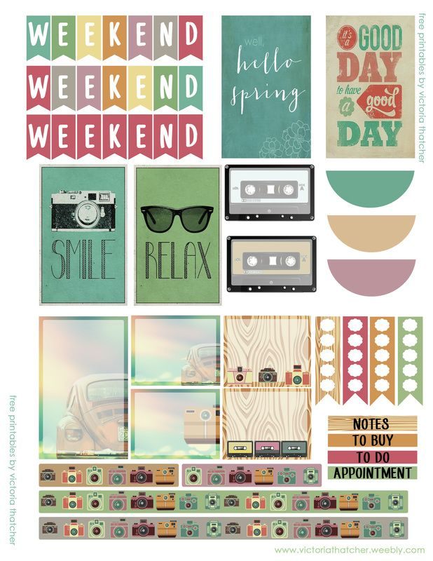 Free Retro Spring Printable Planner Stickers - also has amazing starbucks ones.