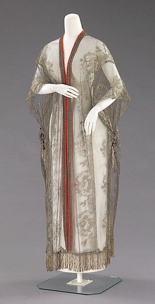 Silver colored silk lace evening coat 1909-1914, French; silk and metal
