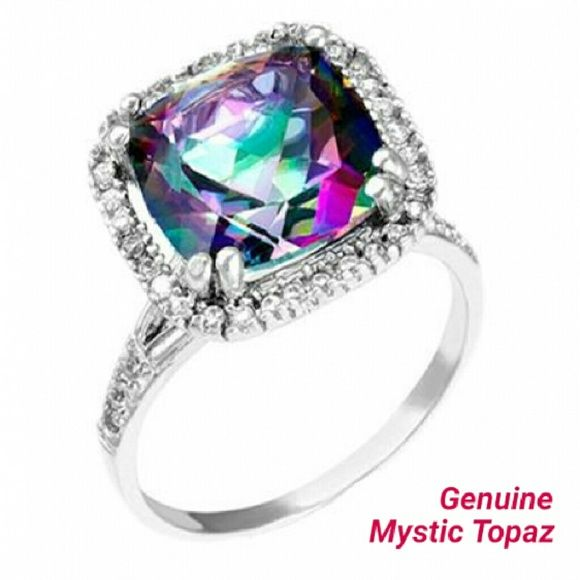 Genuine Mystic Topaz Ring *DELICIOUS* Sparkle*POP*Bling*  *6 CTW. Genuine Mystic Topaz  *Set in .925 Stearling Silver  *Adorned by a Genuine White Topaz Halo  *Comfortable enough to rock everyday or save for special occasions  *Brilliant Color: Purple w/ Green Flash (Natural Genuine Mystic Topaz)  -So much Color and Pop it practically sparkles in the dark:)   *One of my favorite stones. Eye popping in natural light, by candle and artificial lighting* Boutique  Jewelry Rings