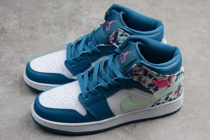 timeless design a4a9b f159b 2019 New Air Jordan 1 Mid White Blue Pink Green Girls Size-1