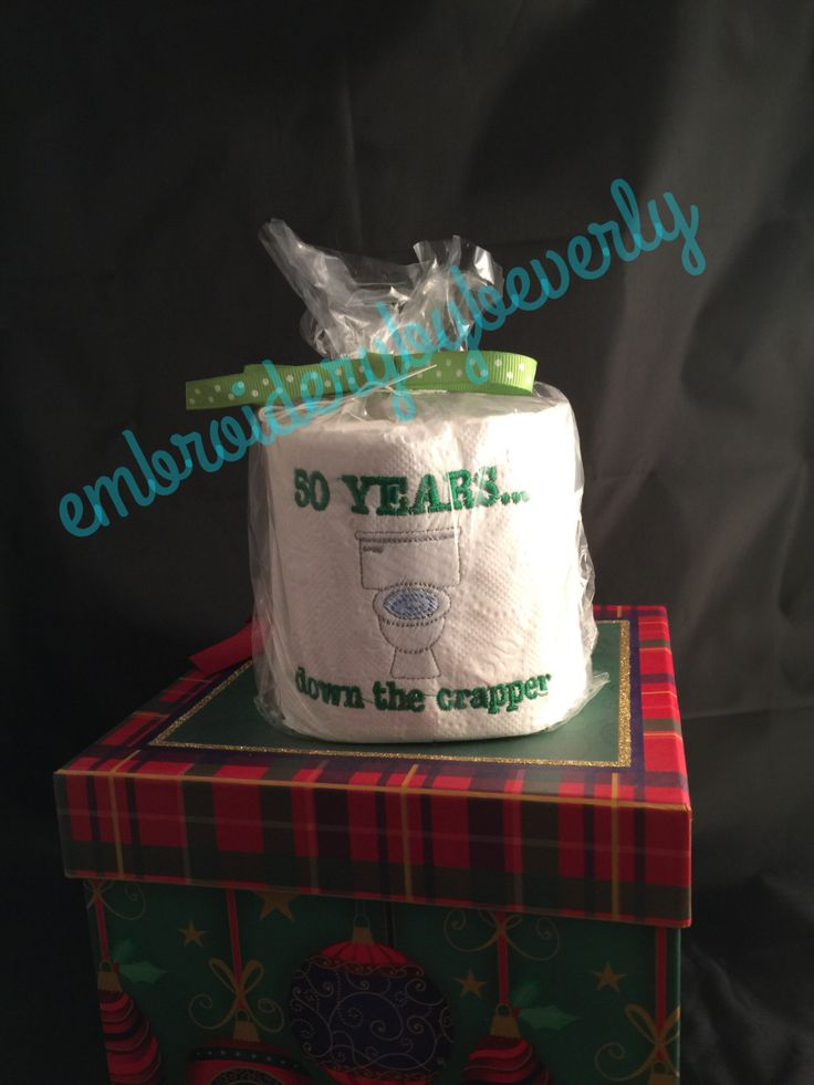 Birthday Toilet Paper Gag Gift,  50 years down the crapper. Funny, OOAK,humorous, Meant for display. Specialty toilet paper. by embroiderybybeverly on Etsy