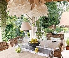 Zobacz zdjęcie dekoracja stołu w ogrodzie, szklana lampa, szklane słoiki i naczynia, duzy el...