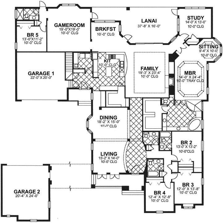 Florida Style House Plans - 4575 Square Foot Home , 1 Story, 5 Bedroom and 4 Bath, 4 Garage Stalls by Monster House Plans - Plan 73-213