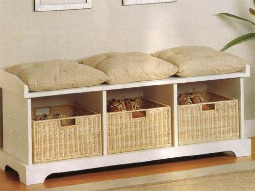 Make a window seat for reading with a bench like this and two tall book cases. Coaster Storage Bench with Baskets and Cushions, White