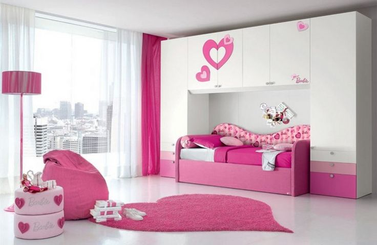 Minimalist Bedroom Interior Design With Pink And White Colors Theme For Teenage Girls Unique Wardrobe Decorated Love Heart Decals