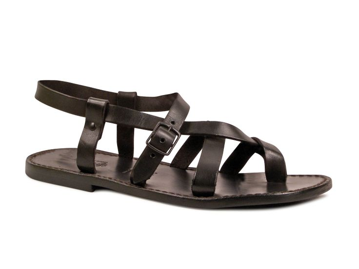Gladiator sandals for men in dark brown real leather