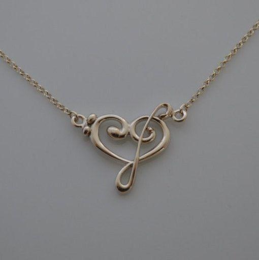girocollo cuore in argento con chiave di violino e chiave di basso con catenina. di RitaVannini su Etsy
