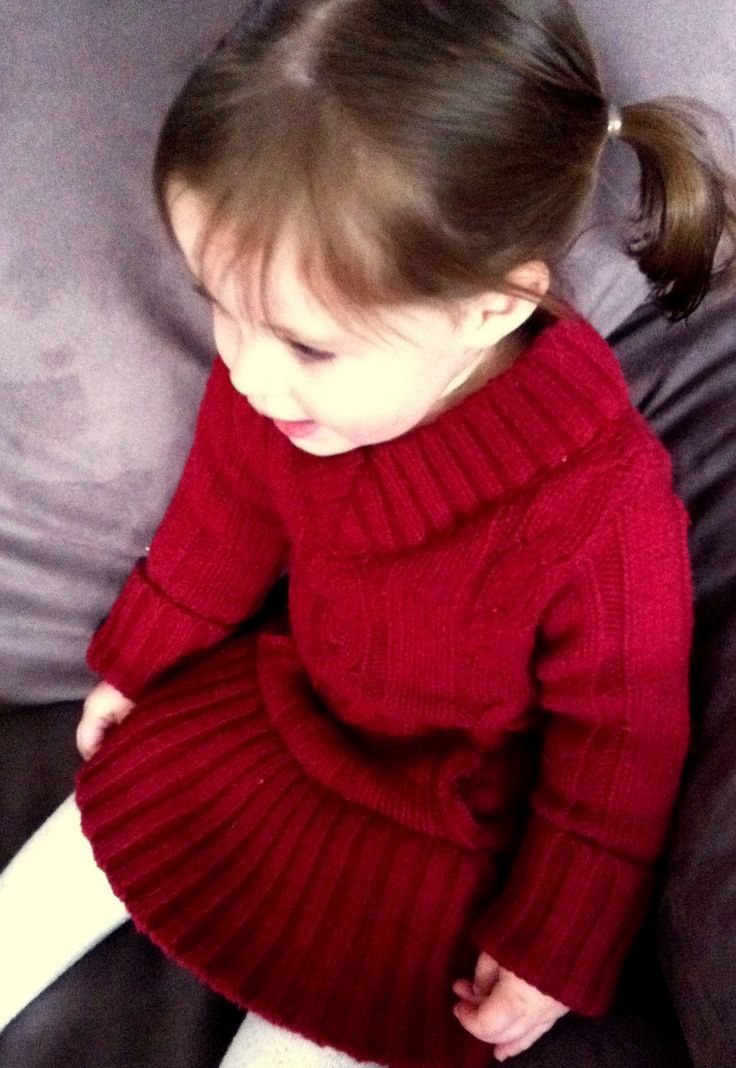 Turn an old sweater into a cute toddler dress!