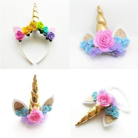 Gold Horn Unicorn Headband & Hair Clips