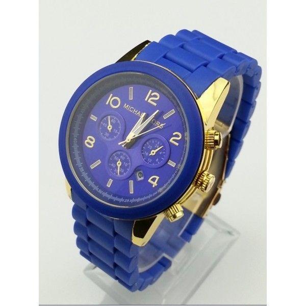 Michael Kors Midsized Polyurethane Chronograph Blue Watch