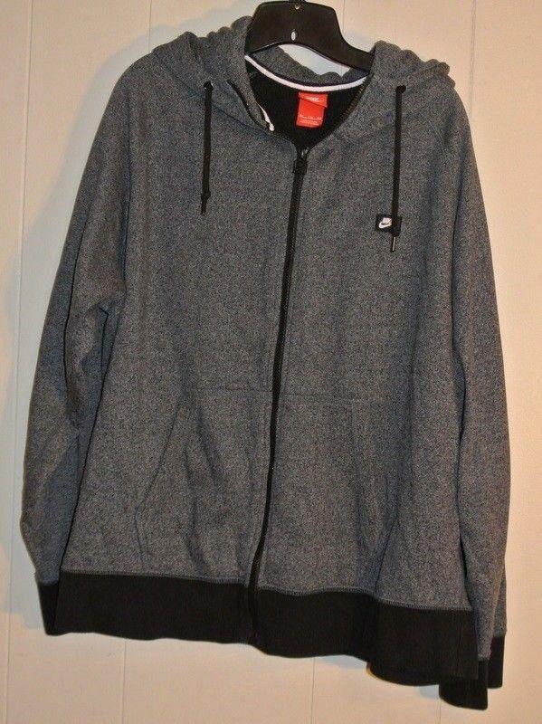 c4fa75f5b45f Men s Nike XXL Gray Black Full Zip Cotton Blend Hoodie Sweatshirt  Nike   Sweatshirt