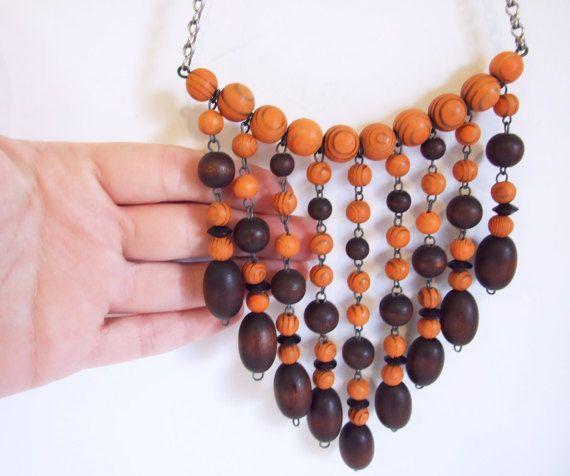 Collar estilo Aarikka // Collar vintage de bolas de madera
