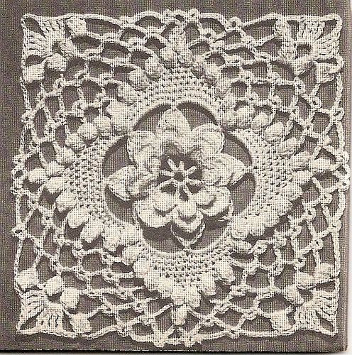 Beautiful Irish crochet square or motif with raised flower in center and popcorn stitches