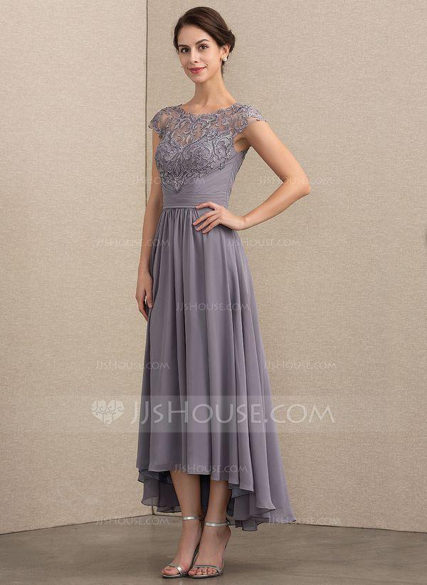 6c80b96312d A-Line Princess Scoop Neck Asymmetrical Chiffon Lace Mother of the Bride  Dress