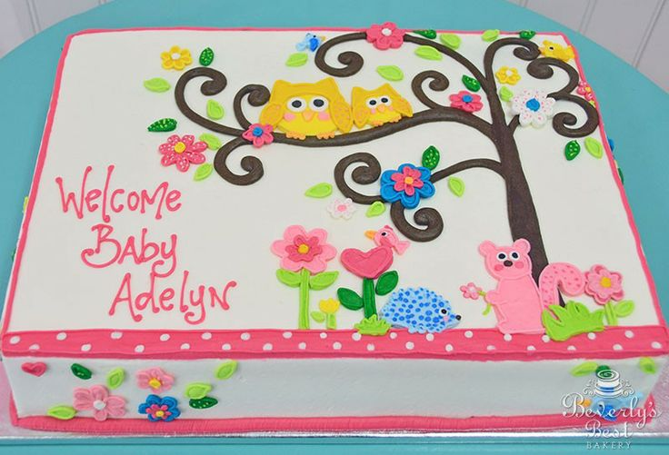 Woodland Animals Baby Shower Cake by Beverly's Best Bakery