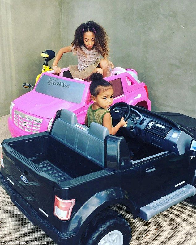 Car pool: Former RHOM star Larsa Pippen posted a shot of her daughter Sophia and North West on her Instagram on Tuesday