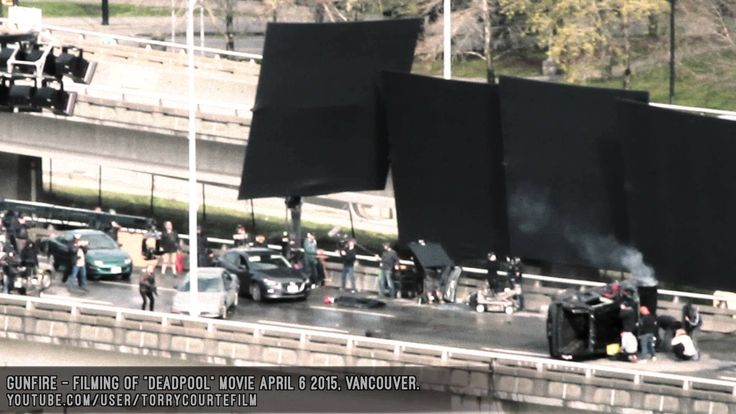 DEADPOOL MOVIE SET - Filming Action Scene, Deadpool Shot At