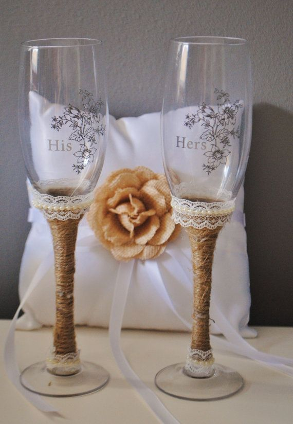 Rustic wedding toasting glasses. His and hers by MyVintageLaceShop