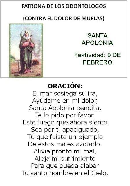 Santa Apolonia, patrona de los odontologos.(dolores de muela)