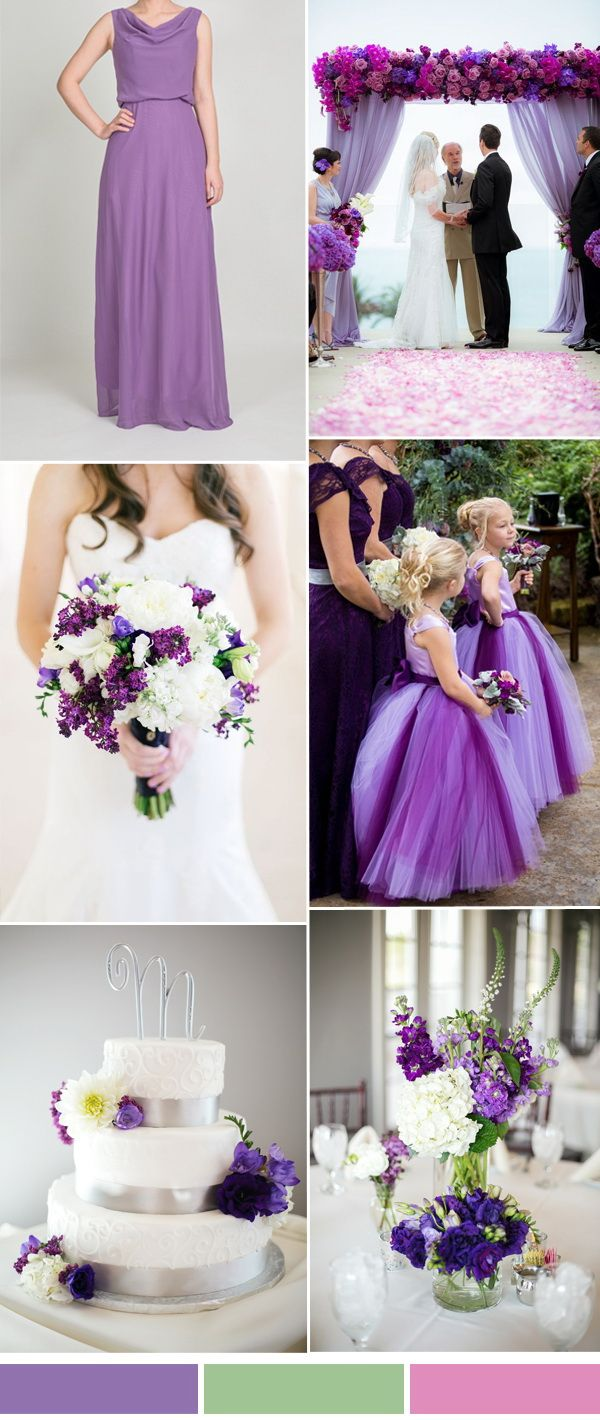 purple wedding color ideas and bridesmaid dresses