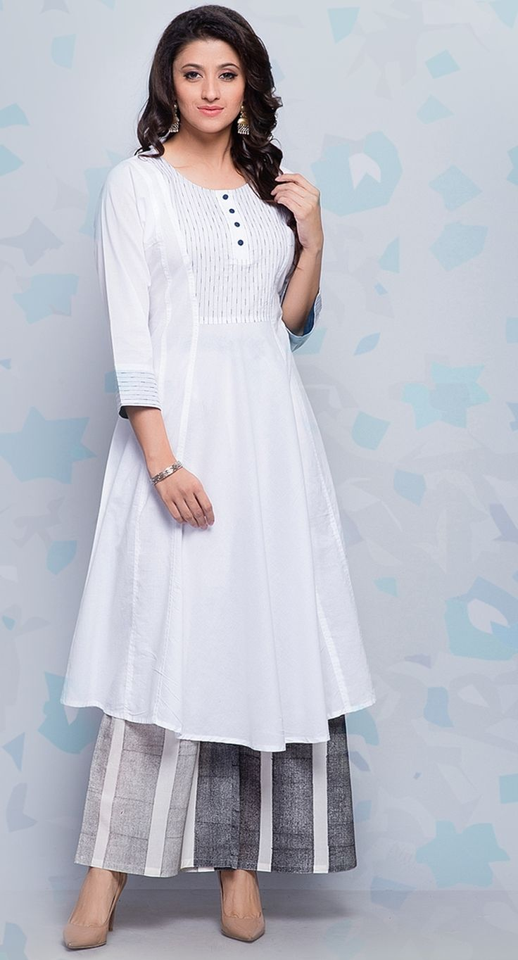 #white #grey #kurta #palazzo #women #fashion #summer #comfort #casual #chic #easy #cool #Fabindia