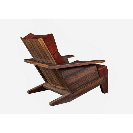 """Robust and ultra comfortable Carlos Motta's """"Santa Rita"""" armchair is comprised of reclaimed Peroba Rosa wood, and upholstered pillows.:"""