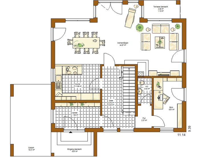 60 best grundrisse images on pinterest bungalows house for Stadtvilla plan