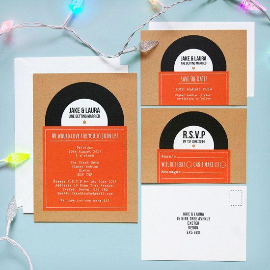 Probe - Record #1 Vintage Retro-Stil Hochzeitseinladung speichern das Datum, RSVP-Briefpapier-Suite / Set Proben