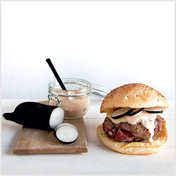 #recette Hamburger - Big Fernand - L'auvergnat : cantal et radis noir