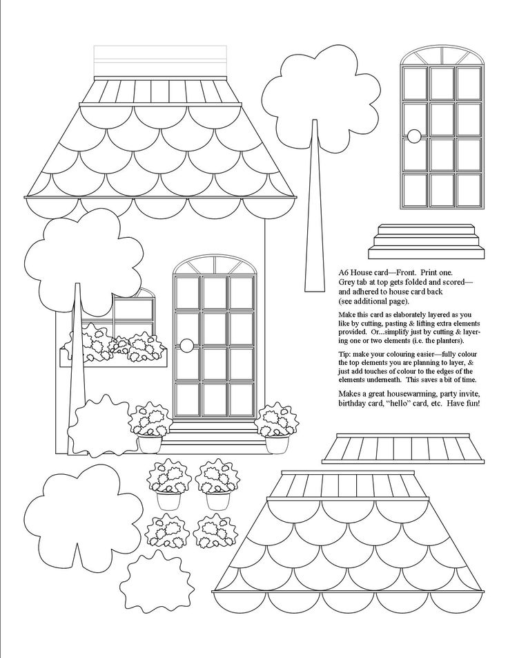 """A6 sized house card, front of card. (A6 card = when folded:  4.5"""" x 6.25"""") Print, Colour, Cut, Layer, Paste.  Make this card as simple or as elaborately layered as you'd like.  This will be your card's front.  See additional file for the back side of your card,  which includes more layers and accessories."""