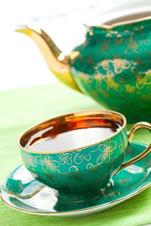 Antique tea sets add charm and sophistication to your table. Mismatch china patterns for a shabby chic look.