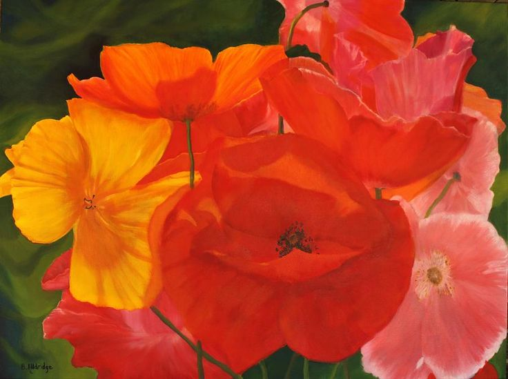 Poppy Bouquet Painting