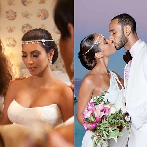 WEDDINGS FASHION KIM KARDASHIAN & ALICIA KEYS' HEADPIECES Because diamond earrings weren't enough bling for these brides, Kim Kardashian (left) and Alicia Keys (right) worked forehead-grazing headpieces into their not-so-basic updos.