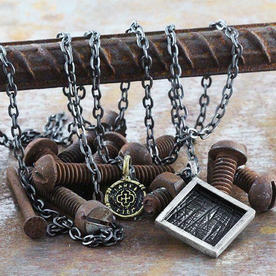 Mens Silver Necklace Geometric Square Pendant man Jewelry