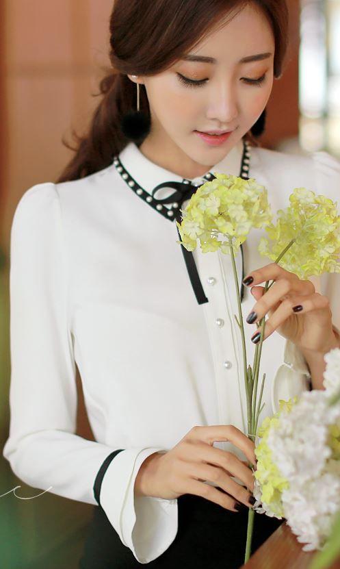 Styleonme_No. 34722 #blouse #ribbon #beaded #feminine