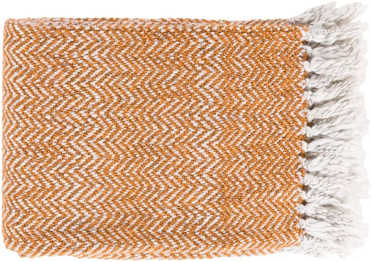 Surya Trina 50 by 60 inches Woven Acrylic, Polyester Throw, Burnt Orange, Ivory, Charcoal