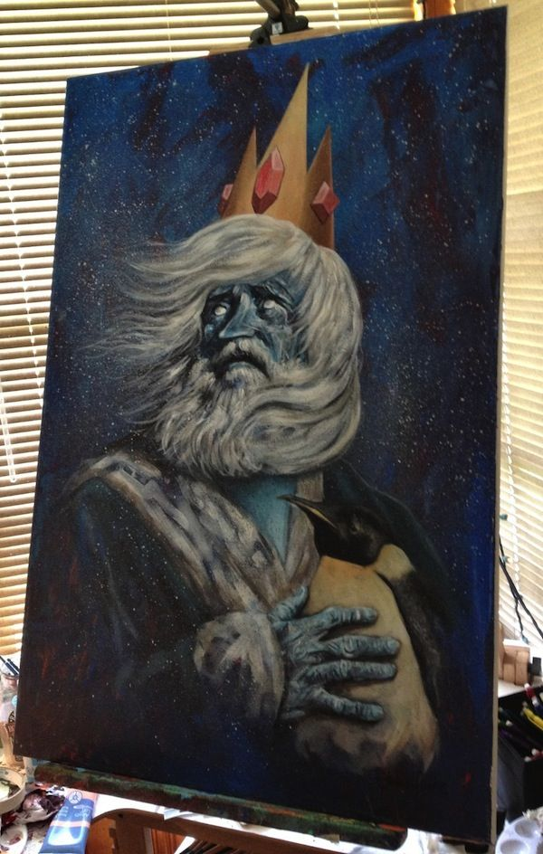 Realistic Ice King And Gunter Portrait #adventuretime #iceking