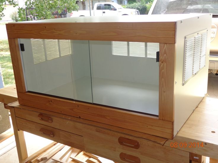 "Our standard bearded dragon enclosure measures 36"" wide X 24"" deep X 18"" tall to provide optimal floor space and to simplify heating & lighting solutions. We also Make a 48"" wide X 24"" deep..."