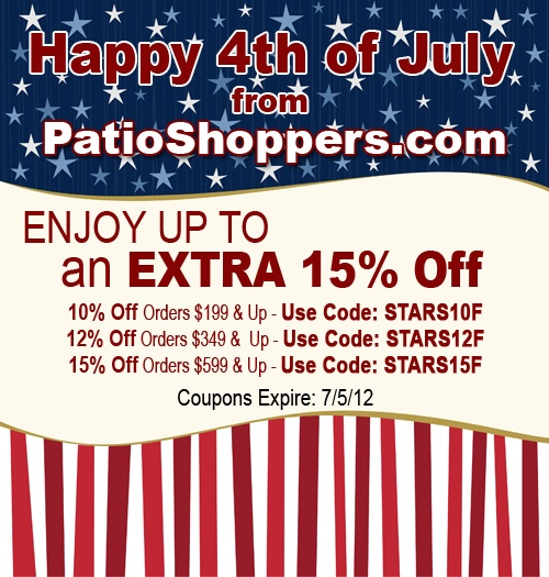 Enjoy Up To An EXTRA 15% Off Patio Items At
