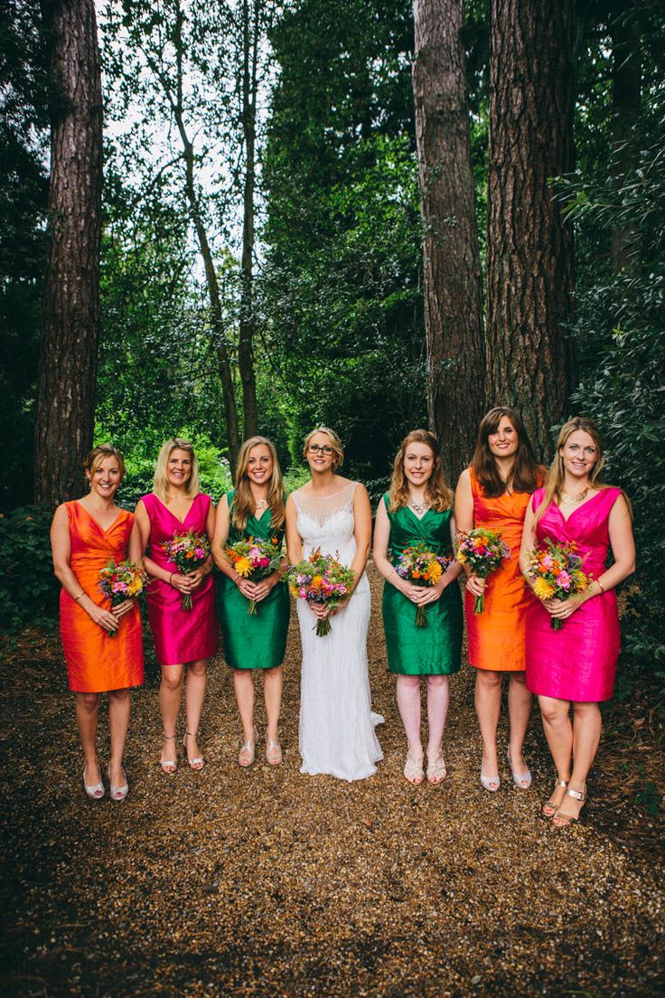 Orange Pink Green Shift Bridesmaid Dresses Colourful Outdoorsy Tipi Wedding http://amybphotography.co.uk/